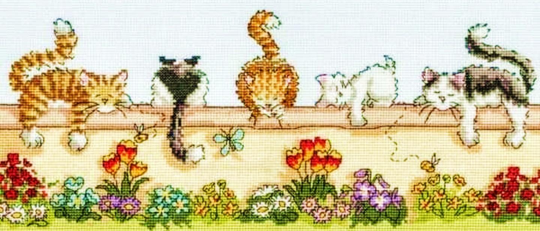 かわいい猫 癒し 人気ブランド まったり 猫好きさんに好評です 刺繍キット クロスステッチキット お昼寝タイム 猫 中級 国内在庫 塀の上でリラックス 送料無料 輸入 5匹 手芸 刺しゅうキット 初心者