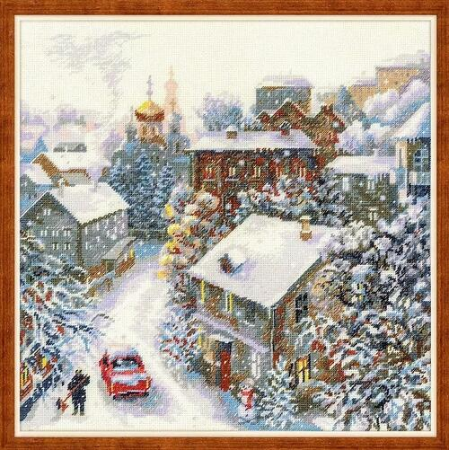人気です 高品質 ロシア ベストクオリティーの海外製輸入刺繍キット クロスステッチキット Riolis 雪の町 Snowy city 雪だるま アンカー リオリス 本日限定 送料無料 海外輸入刺しゅうキット ハーフクロスステッチ クリスマス ツヴァイガルト