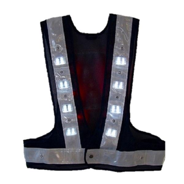 ◇[ポイント20倍][送料無料]日本製LED安全ベスト(照明用)紺・白フリーサイズ 夜間警備 夜間作業
