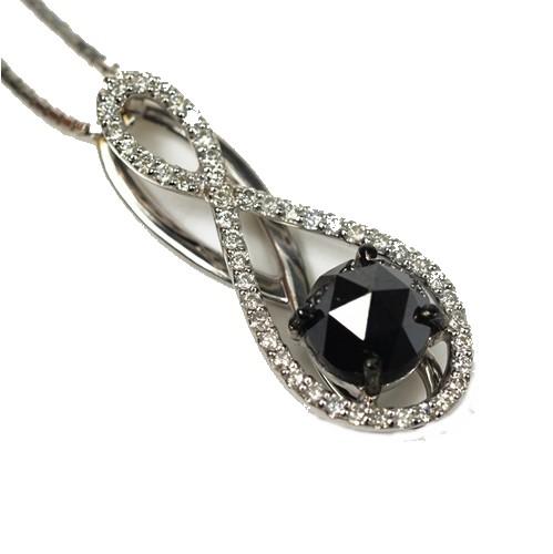 K18WG ダイヤモンド ネックレス ブラックダイヤ BD1.00ct + 0.18ct【超美品】【送料無料】
