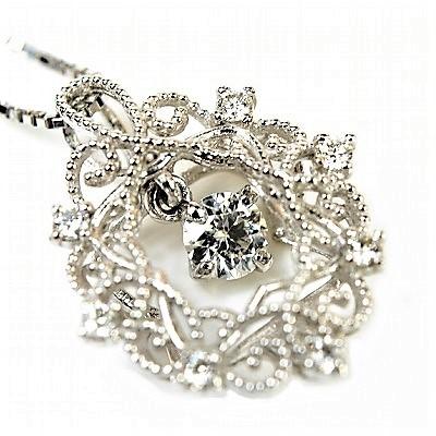 K18WG ダイヤモンド ダイヤネックレス 0.10ct 0.18ct 【新品同様】【送料無料】