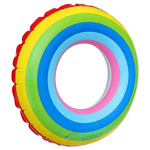 ledmomo 浮き輪 虹 フロート 大人用 子供用 浮輪 カラフル 可愛い 水遊び 直径80cm 便利に携帯 プール 新品■送料無料■ レーンボー 海水浴 二層 国内在庫