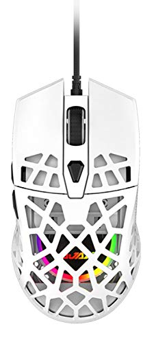 ゲーミングマウス 小型 軽量 ハニカムデザイン オムロンスイッチ搭載 12400DPI 7鍵 PC PS4 スイッチ対応 1年保証 (ホワイト)