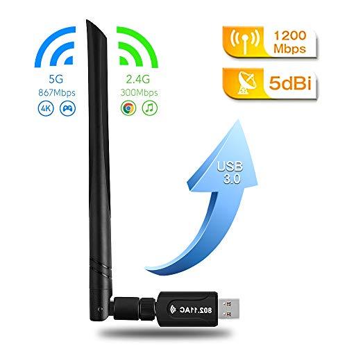 2020最新版 WiFi 無線LAN 子機 1200Mbps wifi アダプタ 2.4G 5G usb 無線lan USB3.0式 5dBi高速通信 360度回転 802.11ac n a Desktop OS g Vista に最適 X 超安い 10 8 対応 PC XP Laptop 7 b Windows セール Mac