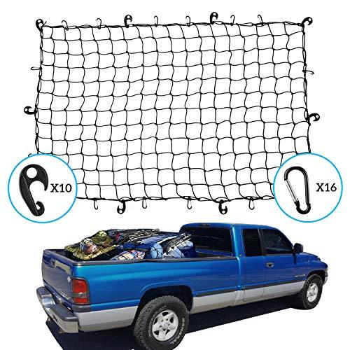 Kohree カーゴネット 120×180cm 車用 高級品 Dリング2WAYフック付 荷物落下防止 収納ポーチ付属 トランクネット マーケット
