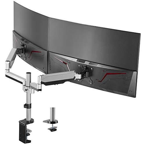 AVLT モニターアーム 2画面 17~32インチ2画面対応 耐荷重2-8kg 多角度調節 ガススプリング式 ディスプレイアーム グロメット式クランプ式 VESA スタンド - 支援曲面/液晶ディスプレイ