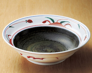 30cm 墨丸赤絵 野いちご 特大鉢30.5x8.6cm 日本製お惣菜の盛り合わせ 炊きもの 煮物 おばんざいの盛り付けに大振りの大皿 大鉢 盛り皿 深皿 煮物鉢