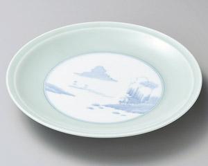有田焼 青磁山水 12号 37cm 高台大皿日本製 さしみ盛 ふぐ刺し お惣菜の盛り合わせ パーティー 宴会 おもてなしの盛り付けに 特大サイズ