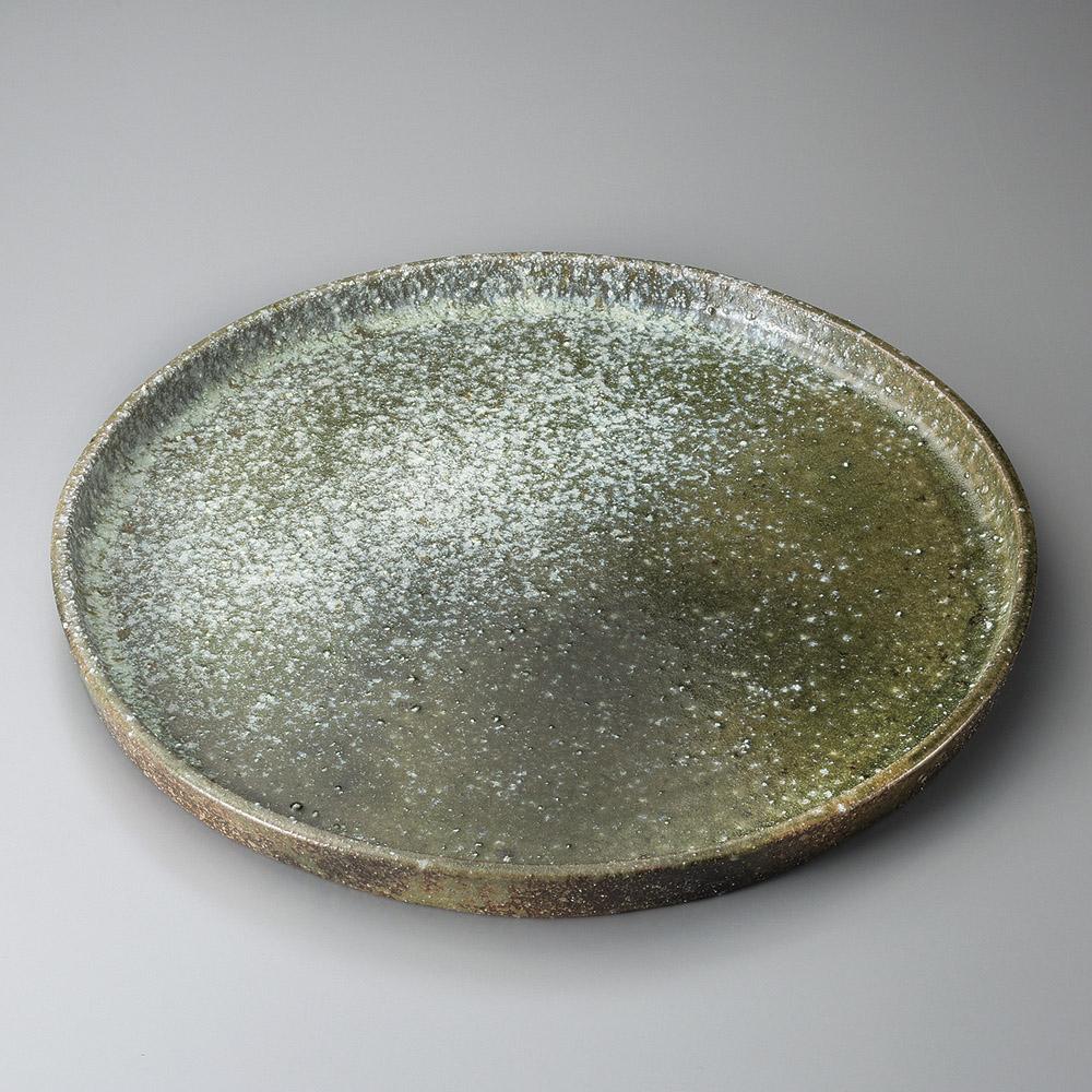 信楽焼 47cm 南蛮窯変 切立 平大皿47.5x3.5cm 日本製おばんざい さしみ盛 お惣菜の盛り合わせ パーティー 宴会 おもてなしの盛り付けに大振りの丸皿 変形皿 特大サイズの盛り付け皿