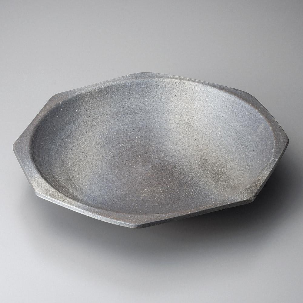 信楽焼 銀彩黒 40cm 八角皿39.5x39.5x5cm 日本製おばんざい さしみ盛 お惣菜の盛り合わせ パーティー 宴会 おもてなしの盛り付けに大振りの丸皿 変形皿 特大サイズの盛り付け皿