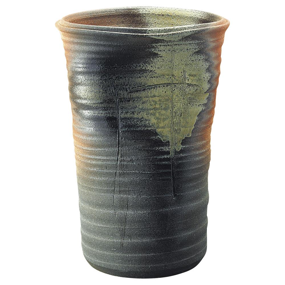 窯変 44cm ラッパ型 傘立て日本製いけばな 大型花瓶 フラワーアレンジ にも