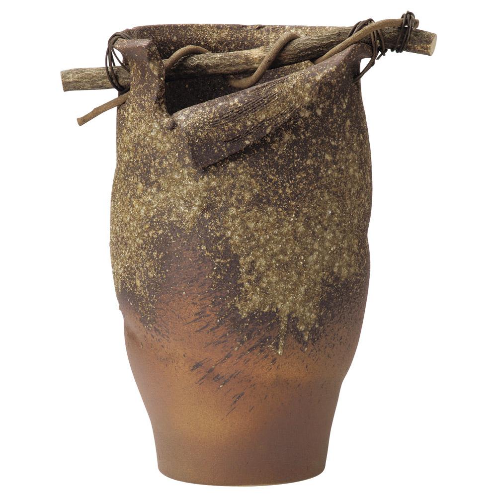 古信楽 火色手桶型 50cm傘立て33cmx30cmx50cm 日本製和風傘たて 玄関の花生け 花木の花器 アートフラワーに