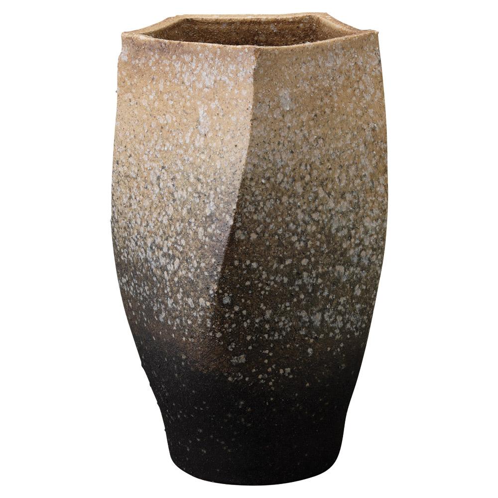 信楽焼 窯変五角 50cm 傘立て 花生け26x48cm 傘たて アートフラワー 花生け 大型花瓶 美しい5角形の陶製壺
