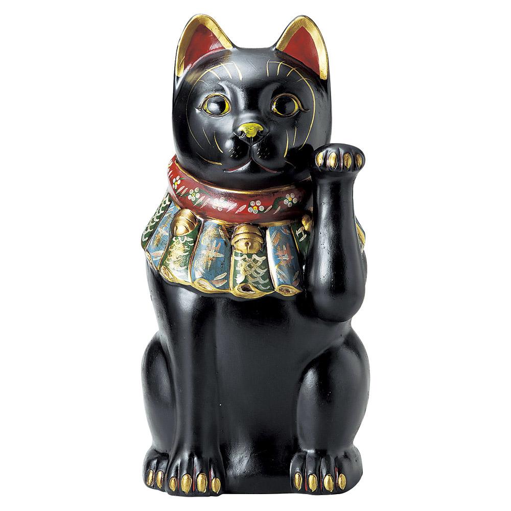 招き猫 52cm 左手 厄除け 黒 特大ねこ日本製 瀬戸焼神具 仏具が業務特別価格福を呼ぶ 幸運 縁起物 陶器製まねき猫