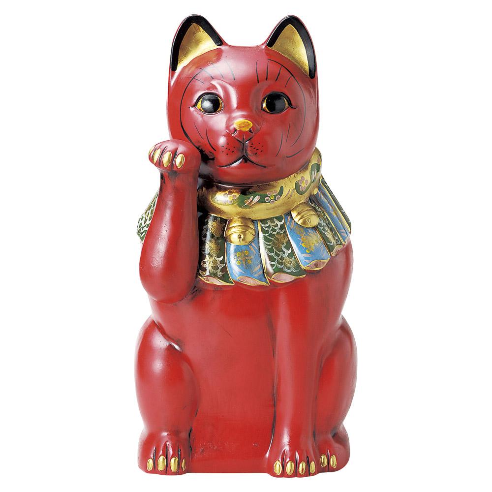 招き猫 52cm 右手 長寿 赤 特大ねこ日本製 瀬戸焼神具 仏具が業務特別価格病気封じ 福を呼ぶ 幸運の縁起物 陶器製まねき猫