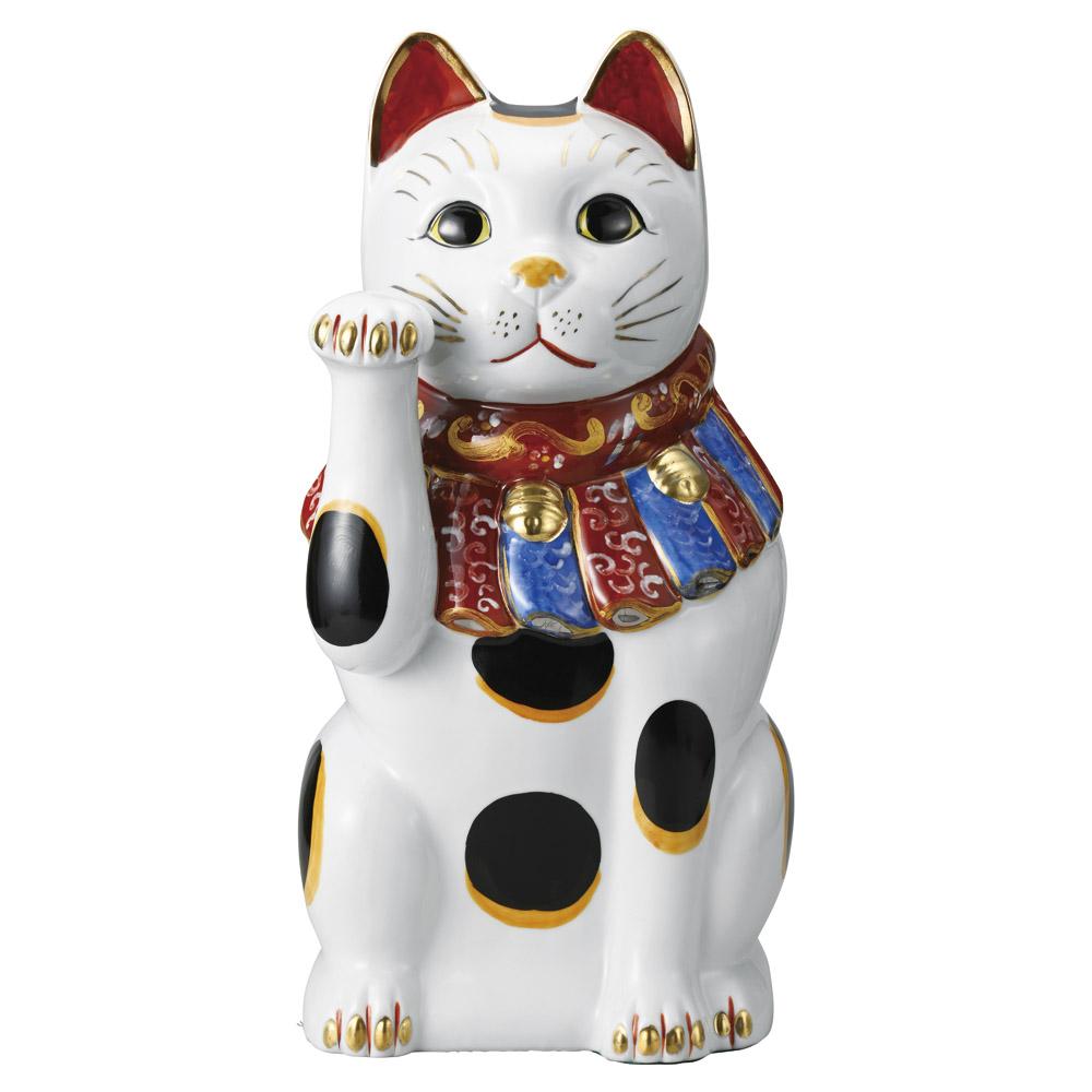招き猫 ぶち 48cm 右手 特大ねこ日本製 瀬戸焼神具 仏具が業務特別価格長寿 病気封じ 福を呼ぶ 幸運の縁起物 陶器製まねき猫