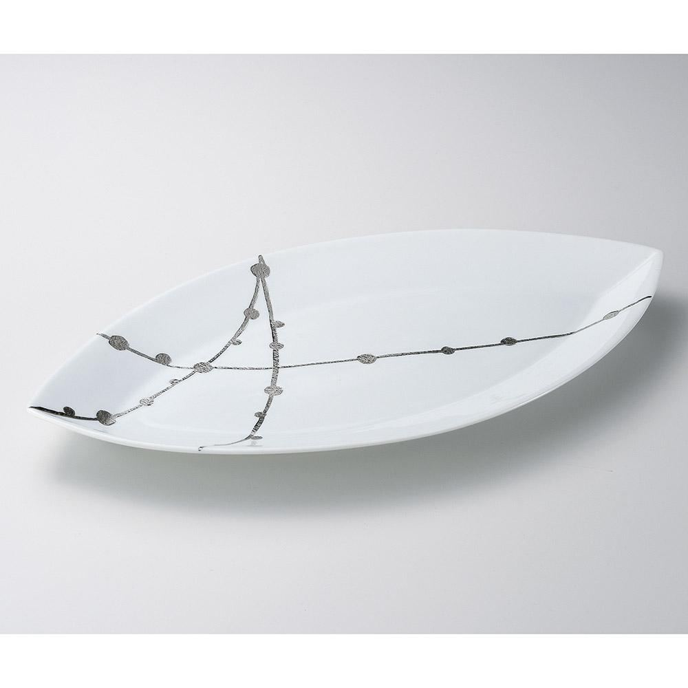 有田焼 50cm 玉すだれ 葉型 変形皿 50x26x4.5cm 日本製 プラチナ彩の美しいうつわ 盛込皿 刺し盛 お惣菜の盛り合わせ パーティー 宴会 おもてなしの盛り付けに大振りの特別な細長皿 超特大サイズ