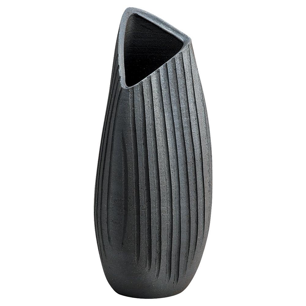 信楽焼 黒銀彩 花瓶 16cmx3cm日本製
