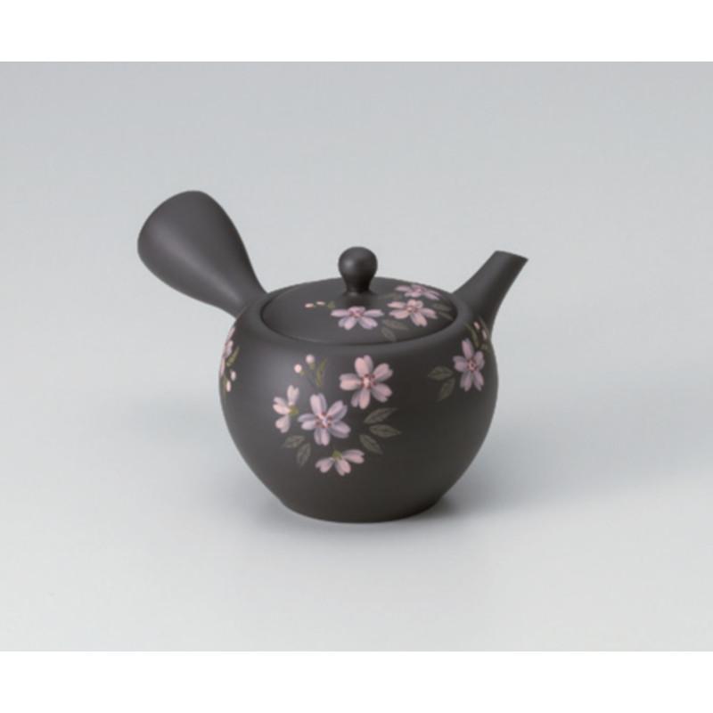 常滑焼 黒泥丸型急須 桜草 320cc 日本のうつくしい高級急須お茶ポット 煎茶 ほうじ茶 ウーロン茶 中国茶