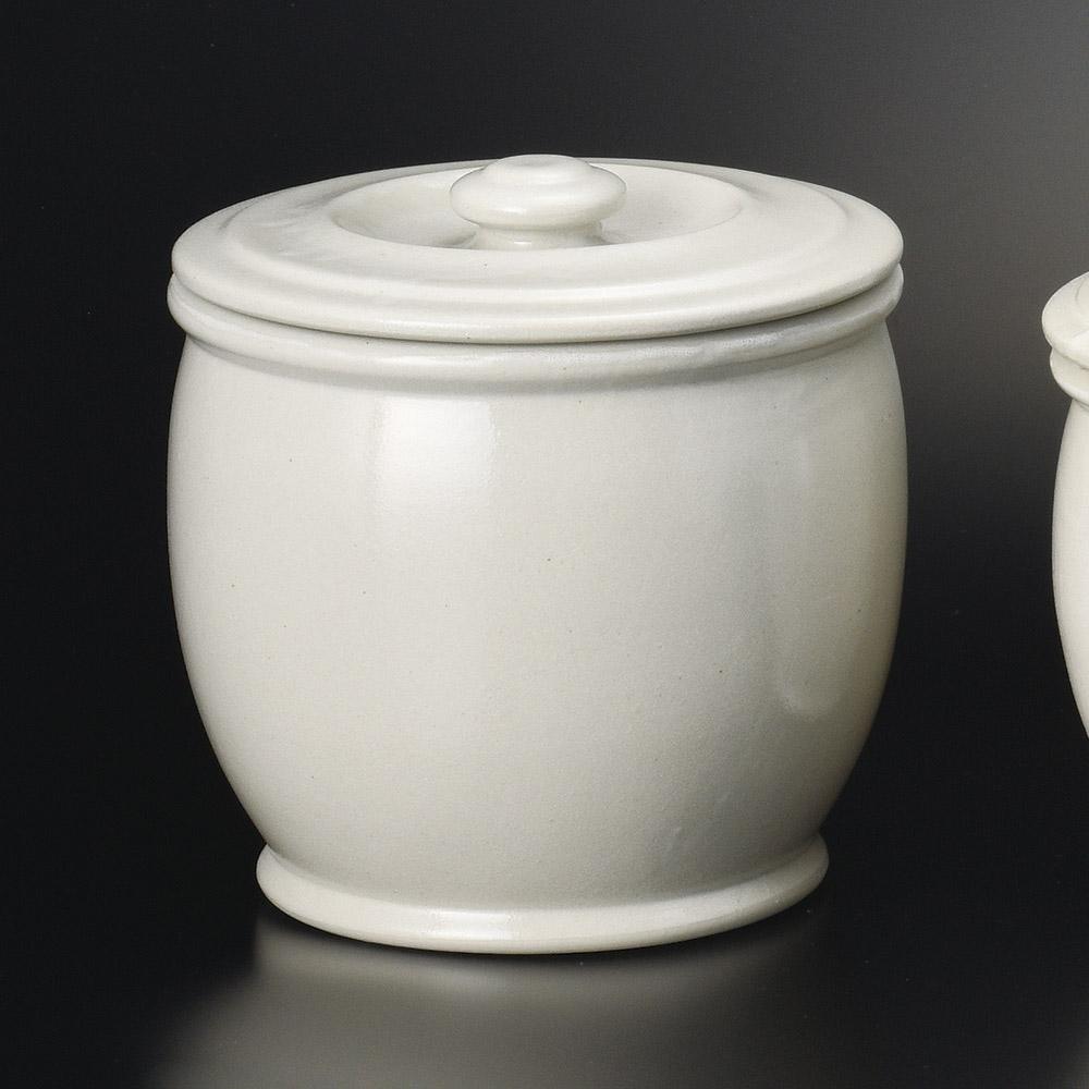 白釉 6500cc 3升かめ 保存壺 25x26cm 日本製の梅干し 味噌 糠みそ キムチ 漬物大型 甕 調味料容器 保存容器
