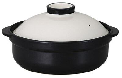 ホワイト & 黒 9号 3000cc カラフル 土鍋 (直火用)日本製