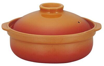 オレンジ 9号 3000cc IHパーティー土鍋 (IH対応)付属のプレート使用でIHコンロ対応