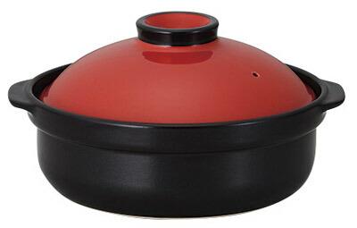 赤 & 黒 9号 3000cc IHカラフル土鍋付属の発熱プレート使用でIHコンロ対応