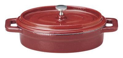 レッド 鉄製 480cc 楕円ココット鍋 (中国製)鋳鉄製ホーロー小鍋フォンデュ グラタン スープ ポトフにかわいいお家カフェ用ミニ鍋