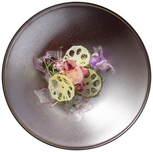 28cm 茶メタリック フィノ ワンプレート ランチ皿日本製 美濃焼メイン・オードブル・お惣菜・前菜盛り合わせ・ワンプレートランチに和洋対応、和カフェ、古民家カフェ、ビンテージカフェ食器