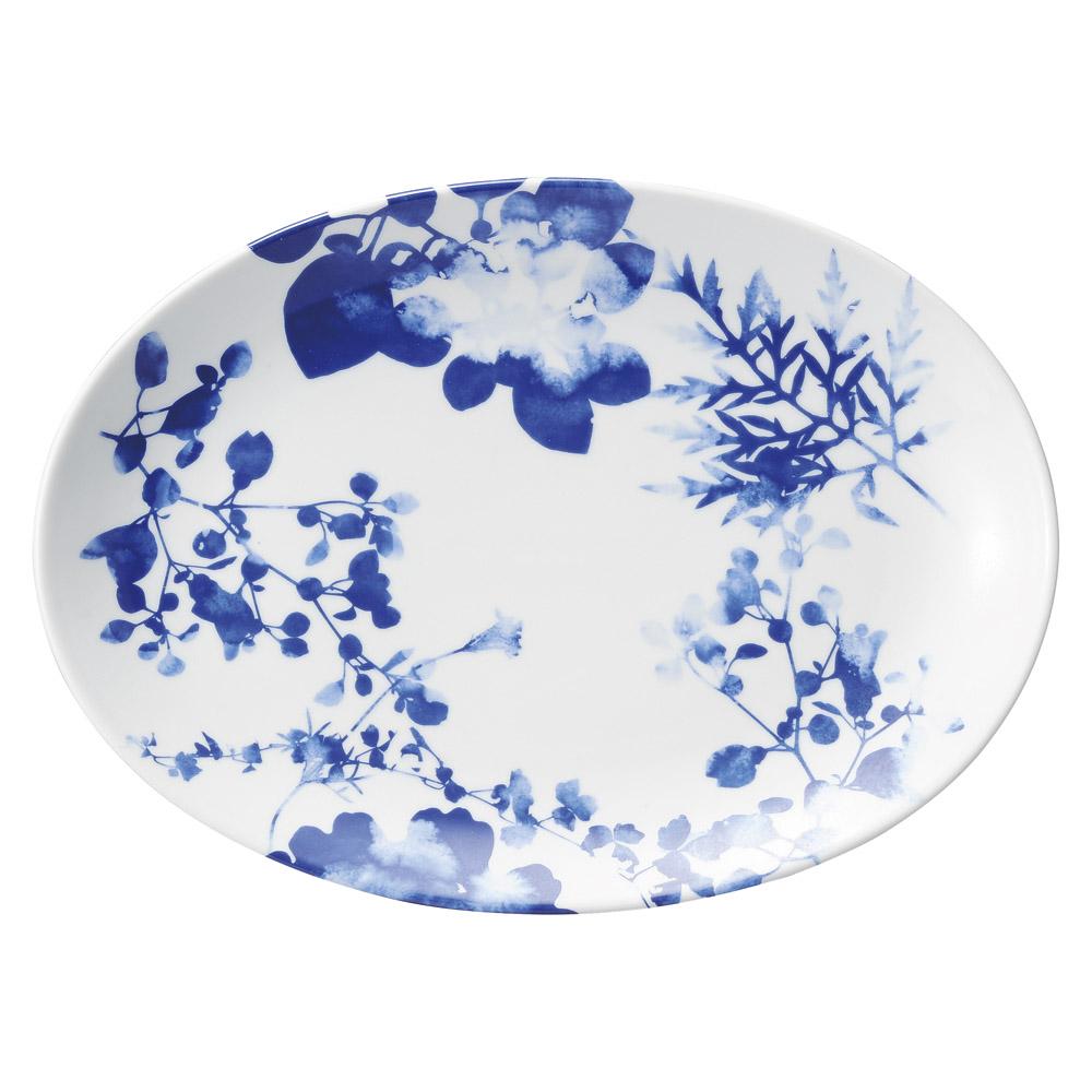 藍芙蓉 31cm プラター皿 日本製 瑞々しい藍ブルーの草花画が美しい モダンな新中華食器シリーズ