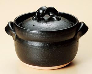 信楽焼御飯鍋 黒マット釉 5合炊用(ねじり手)日本製 信楽焼伝統の日本美 重厚で高級感のある炊飯鍋毎日炊ける 簡単 シンプル 手間なしおいしいごはん遠赤効果でふっくら もっちり 土鍋ごはん 安心の日本製 国産陶器