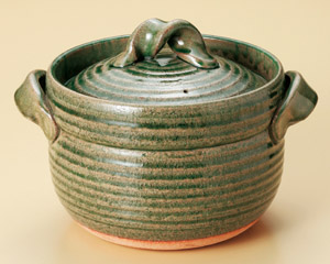 信楽ご飯鍋 緑釉 5合炊用(ねじり手)日本製 信楽焼伝統の日本美 重厚で高級感のある炊飯鍋毎日炊ける 簡単・シンプル・手間なしおいしいごはん遠赤効果でふっくら・もっちり・土鍋ごはん