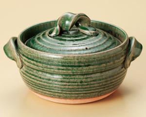 信楽焼 ごはん鍋 緑釉 3合炊用 (ねじり手)日本製 信楽焼伝統の日本美 重厚で高級感のある炊飯鍋毎日炊ける 簡単 シンプル 手間なしおいしいごはん遠赤効果でふっくら もっちり 土鍋ごはん