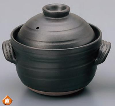 大黒4合ふっくら ご飯土鍋(中蓋付き) 直火専用毎日炊ける 簡単 シンプル 手間なしおいしいごはん内蓋有りでおいしく炊ける!遠赤効果でふっくら もっちり 土鍋ごはん
