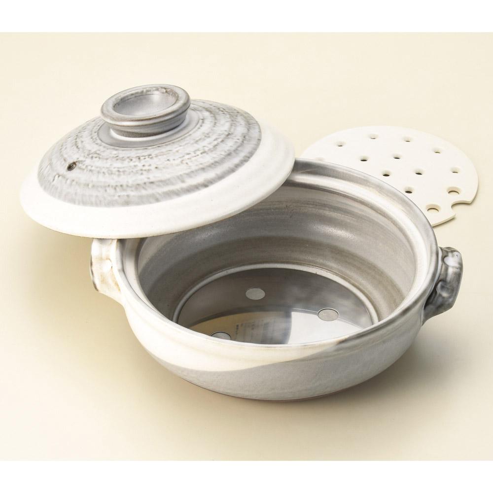 京粉引 10号 IH 土鍋発熱プレート使用でIHコンロ対応