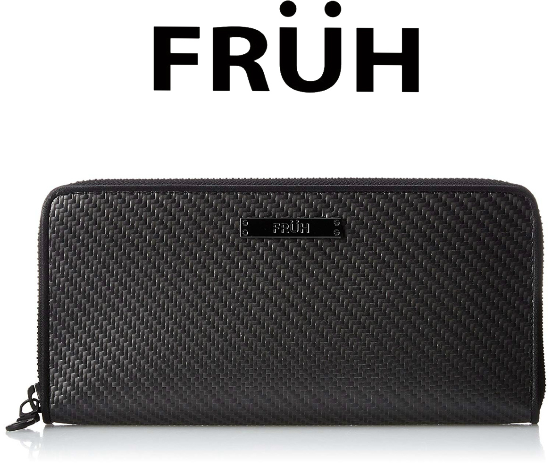 FRUH フリュー リアルカーボン ラウンドジップウォレット ブラック GL026 長財布