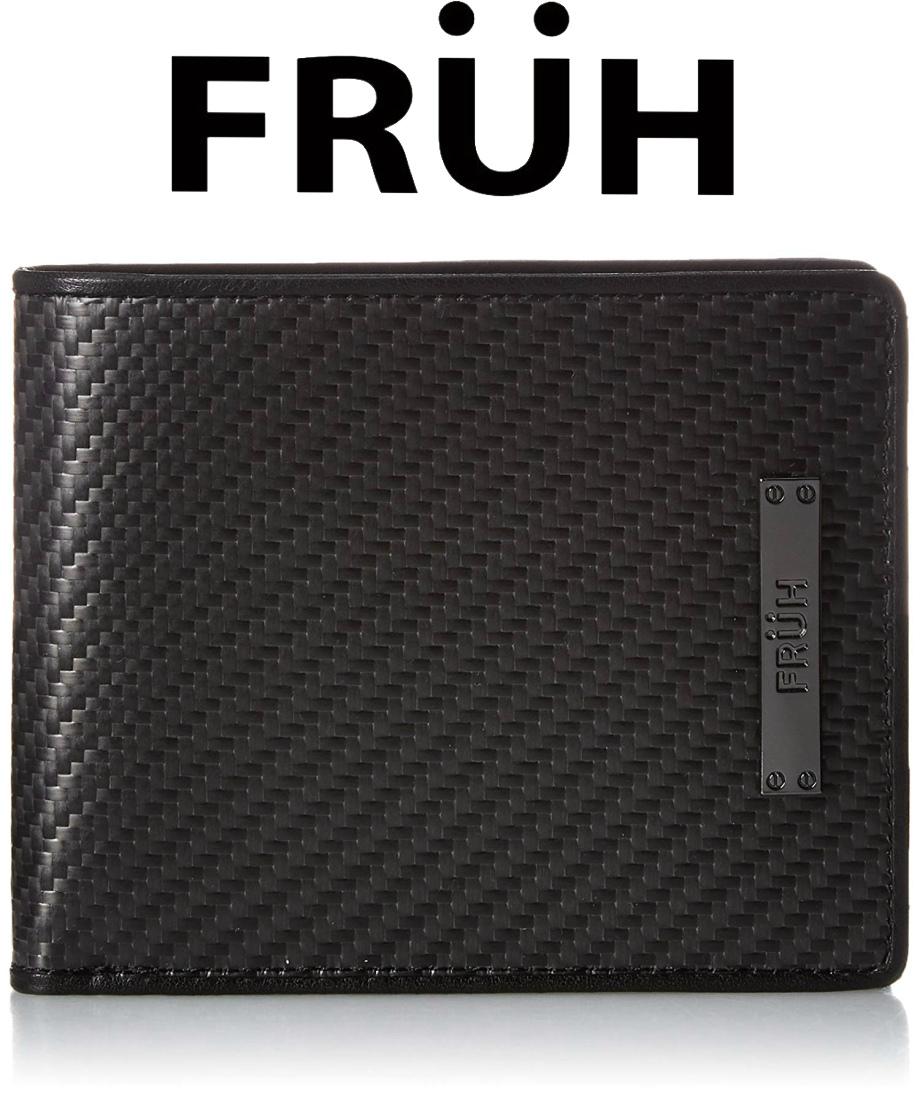 FRUH フリュー リアルカーボン 2つ折りウォレット ブラック GL027 二つ折り財布