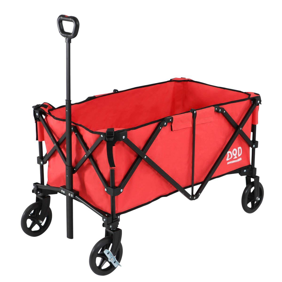 【あす楽】DOD アルミキャリーワゴン C2-534-RD | サーモンピンク | 耐荷重100kg | 大容量160L | 超軽量10.4kg