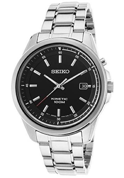 セイコーメンズ腕時計ステンレス黒SKA677P1Seiko SKA677P1 Men's Kinetic Stainless Steel Black Dial・お取寄