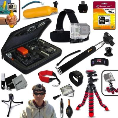Xtech GoPro互換品 アクセサリーキット アウトドア サイクリング ダイビング Xtech Ideal Accessory Kit for GoPro・お取寄