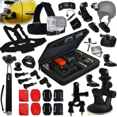 Xtech GoPro互換品 19品 アクセサリーキット ツーリング サイクリング ドライブ Xtech Car Mount and Motorcycle Accessory Kit (19 Items)・お取寄