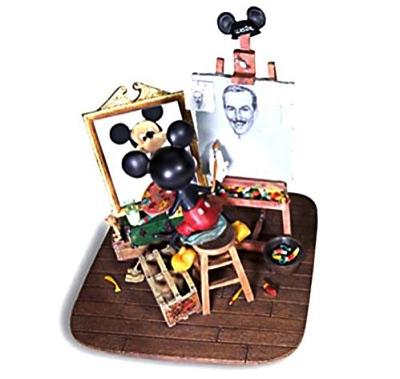 セルフポートレート ミッキーマウスフィギュア ウォルトを描くミッキー! Self-Portrait Walt Disney and Mickey Mouse Figurine・お取寄