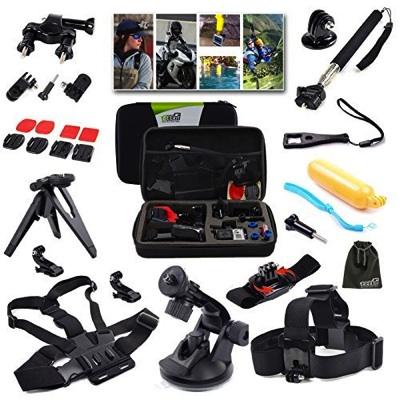 GoPro互換品 EEEKit アウトドア・スポーツ 21-in-1キット 耐衝撃キャリーケース付き GoPro Hero 4, 3+, 3, 2, 1対応 Outdoor Sports Professional 216015・お取寄