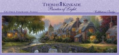 700ピース パノラマジグソーパズル トーマスキンケード 石畳ブリッジ 700 Piece Thomas Kinkade Panoramic-Cobblestone Bridge・お取寄