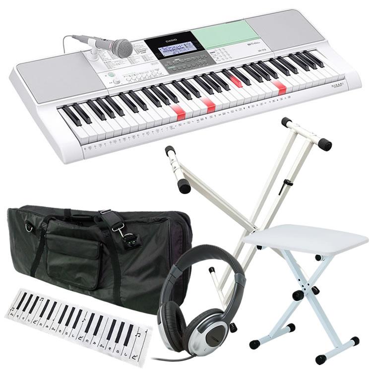 【2019年最新モデル!】CASIO カシオ 61鍵盤 光ナビゲーション・キーボード LK-512 初心者入門セット(スタンド・イス・ケース・ヘッドフォン・クロス)【6点セット:LK512 KBSDWH KB4400WH KBC61M HP170 KDC01】【子供用 お子様用 電子ピアノ】【発送区分:大型】