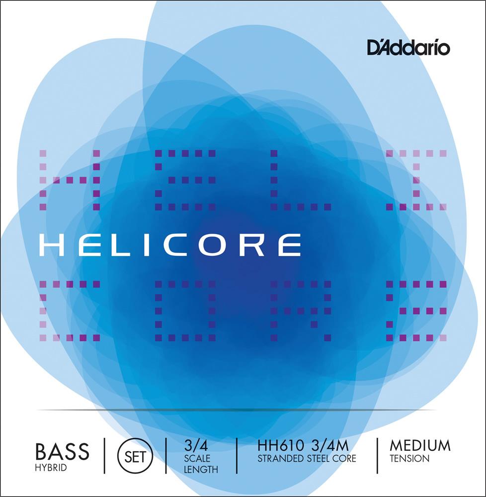 D'Addario ウッドベース弦 HH610 3/4M Helicore Hybrid Bass Strings / SET-MED (セット弦/ミディアム)【ダダリオ daddario コントラバス】
