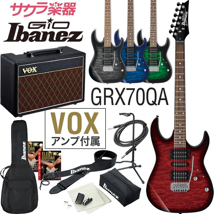 【予約カラーは5月下旬入荷】GIO Ibanez アイバニーズ エレキギター GRX70QA [VOX Pathfinder10 アンプ入門セット]【発送区分:大型】