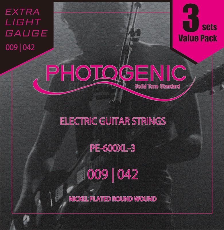 送料無料 沖縄 離島を除く 今だけポイント5倍 9月24日9:59まで エレキギター弦 Photogenic pack ゆうパケット対応 PE600XL PE-600XL 3set エキストラ 商店 往復送料無料 ライト