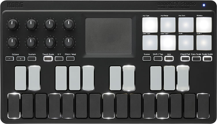 送料無料 沖縄 離島を除く 代引き手数料無料 KORG モバイル MIDI キーボード nanoKEY NANOKEY-ST 送料無料(一部地域を除く) コルグ スタジオ Studio 正規品 ナノキー Bluetoothワイヤレス接続可能