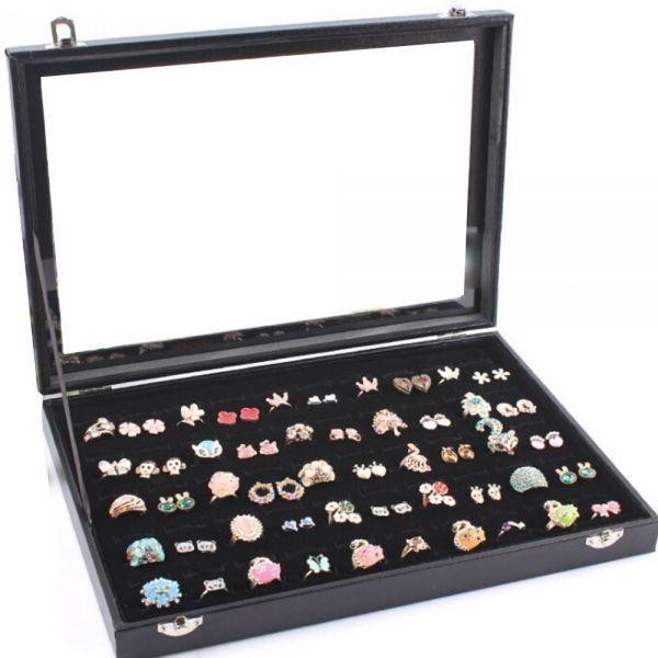 リングケース 指輪 アクセサリー 品質保証 100個 ピアスケース ジュエリーボックス ディスプレイ ベロア調 ベルベット 展示用 誕生日プレゼント コレクションケース